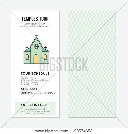 Temple tour vector vector vertical banner template. The tour announcement. For travel agency products, tour brochure, excursion banner. Simple mono linear modern design.