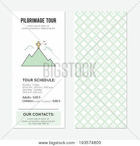 Pilgrimage vector vertical banner template. The tour announcement. For travel agency products, tour brochure, excursion banner. Simple mono linear modern design.
