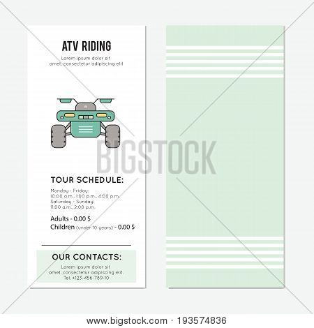 ATV riding vector vector vertical banner template. The tour announcement. For travel agency products, tour brochure, excursion banner. Simple mono linear modern design.
