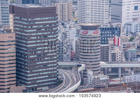 OsakaJapan - November 29 2015 : Skyscrapers of the landmark Umeda district in OsakaJapan. view from Umeda sky building.