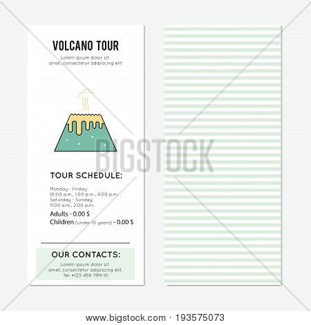 Volcano vector vertical banner template. The tour announcement. For travel agency products, tour brochure, excursion banner. Simple mono linear modern design.