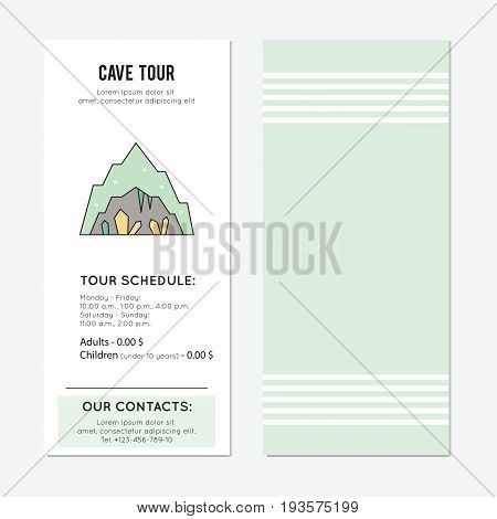 Cave with stalagmites and stalactites, vector vertical banner template. The tour announcement. For travel agency products, tour brochure, excursion banner. Simple mono linear modern design.