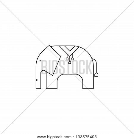 Elephant vector thin line icon. Isolated symbol. Logo template for riding tour, element for travel agency products, tour brochure, excursion banner. Simple mono linear modern design.