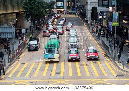 Hong Kong - February 23 2017: Business downtown of Hong Kong Hong Kong street