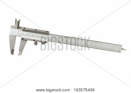 Steel pair of calipers tool isolated on a white background.