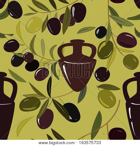 Seamless background with amphora and olive branches. Vector illustration