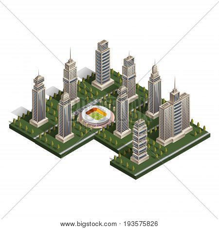 Collection of skyscrapers isometric. Vector illustration on white background