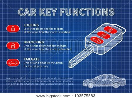 Car key functions blue print vector illustration. Auto key features: locking unlocking tailgate creative concept.