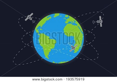 Planet earth and satellite orbits vector illustration. Space satellites flying around the earth graphic design.