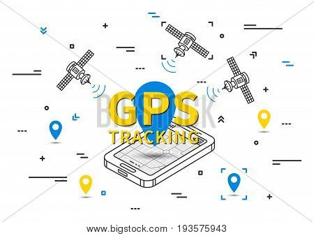 GPS tracking vector illustration. Tracking system with satellite graphic design. GPS navigation wireless technology line art concept.