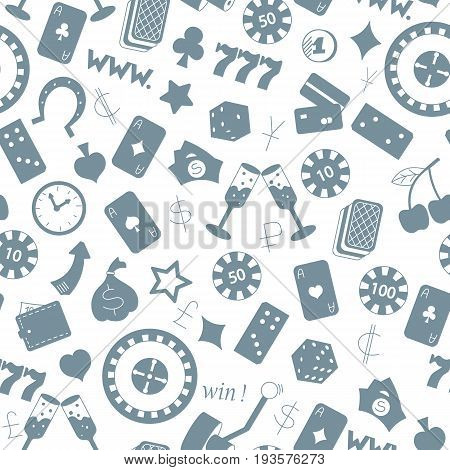 Seamless pattern on the theme of gambling and money a grey silhouettes of icons on the white background