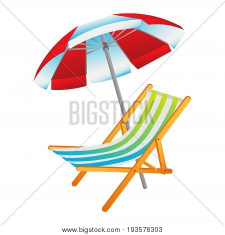 Opened sun umbrella and deckchair vector illustration isolated on white background.