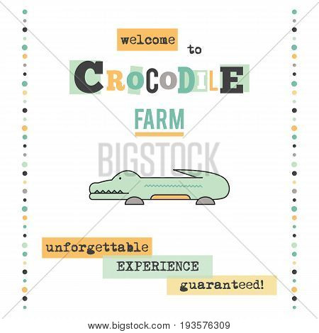 Vector vertical banner template. Crocodile. Zoo or crocodile farm tour announcement. For brochure, banner, logo. Simple mono linear modern design.