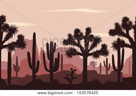 Desert seamless pattern with joshua trees opuntia and saguaro cacti. Mountains background.