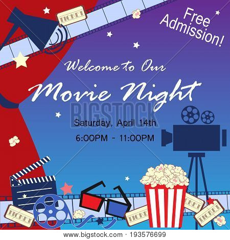 Cinema event card. Flat movie background with cinema attributes. Film strip camera reel masks popcorn and 3D glasses