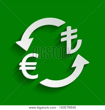 Currency exchange sign. Euro and Turkey Lira. Vector. Paper whitish icon with soft shadow on green background.