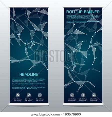 Roll up banner for presentation and publication. Medicine science technology and business templates. Structure of molecular particles and atom. Polygonal abstract background