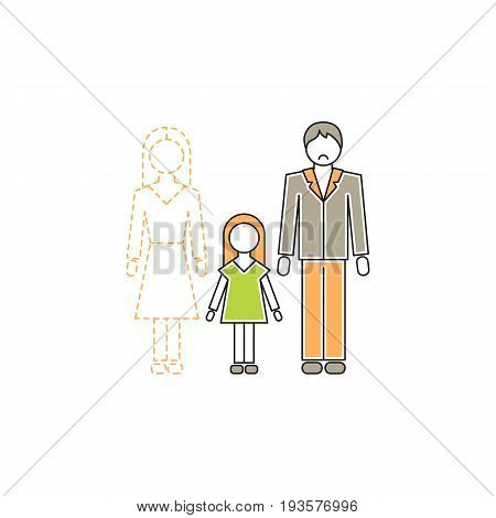 Vector thin line icon, father and daughter without mother. Metaphor of single dad, divorced or widowed. Colored isolated symbol. Simple mono linear modern design.