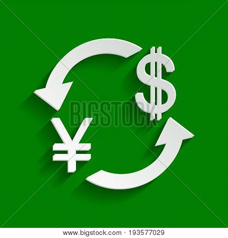 Currency exchange sign. Japan Yen and US Dollar. Vector. Paper whitish icon with soft shadow on green background.