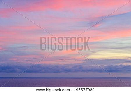 Colorful dusk over the Tyrrhenian Sea near Positano - Amalfi Coast Campania Italy