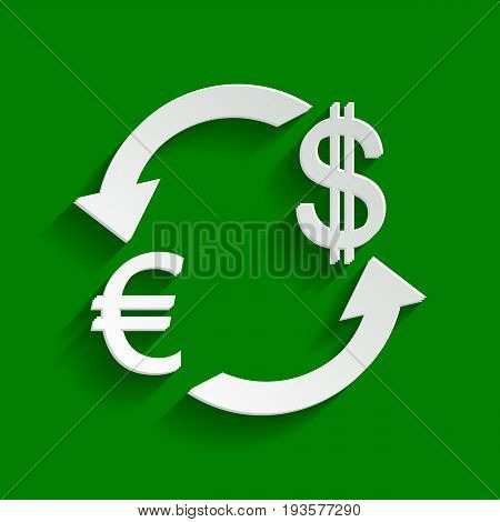 Currency exchange sign. Euro and US Dollar. Vector. Paper whitish icon with soft shadow on green background.