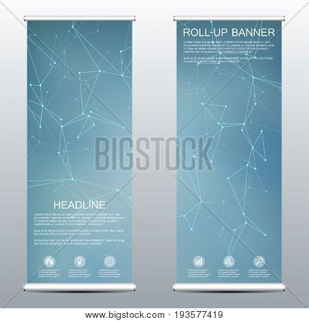 Roll Up Banner For Presentation And Publication. Medicine, Science, Technology And Business Template