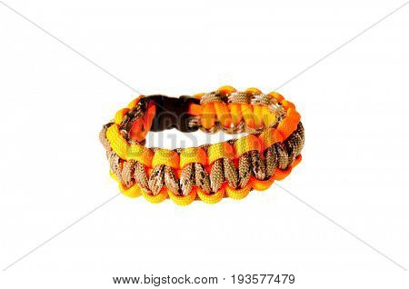 Colbert, WA - June 9, 2017: Paracord survival bracelets made in the USA, in camouflage and hunter orange colors, illustrative editorial