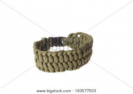 Colbert, WA - June 9, 2017: Paracord survival bracelets made in the USA, in green color, illustrative editorial