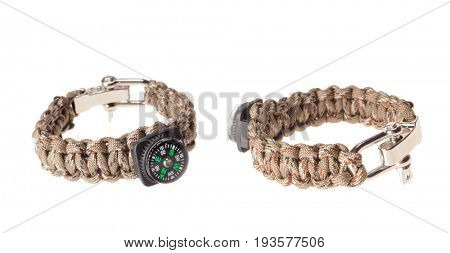Colbert, WA - June 9, 2017: Paracord survival bracelets made in the USA, in Camouflage with a compass for navigation, illustrative editorial