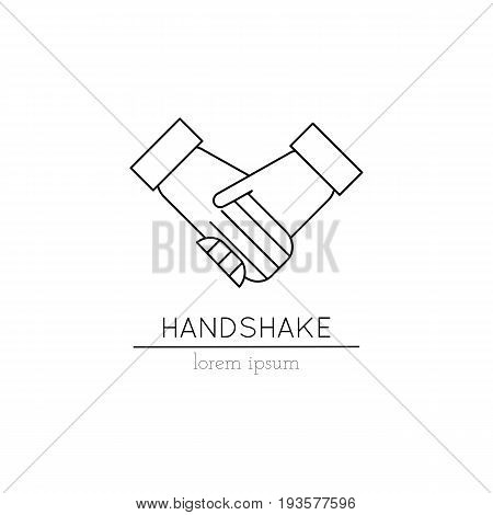 Vector thin line icon, handshake. Metaphor of friendship, cooperation and mutual understanding. Simple mono linear modern design. Logo template illustration. Black on white isolated symbol.