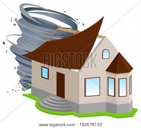 Insurance of home. Hurricane ripped off roof of house. Isolated on white vector 3d illustration