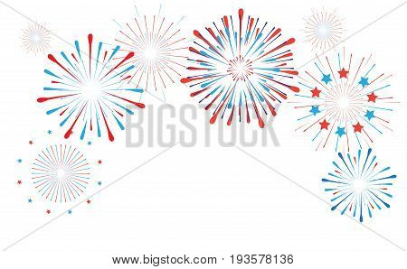 Fireworks, stars, confetti banner background in national France flag colors. Round frame with place for text. Vector white paper. For celebrate France National Holiday.