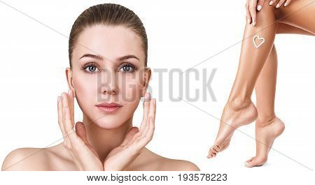 Spa collage of female face and legs over white background. Bodycare concept.