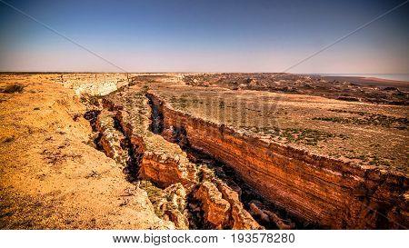 Panorama view to Aral sea from the rim of Plateau Ustyurt near Aktumsuk cape at Karakalpakstan, Uzbekistan
