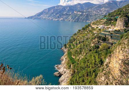 The beautiful Tyrrhenian Sea at the Amalfi Coast Campania Italy