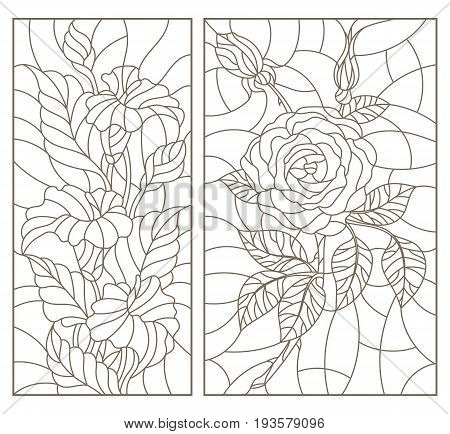 Set contour illustrations in the stained glass style with floral pattern of roses and Calla lilies dark outline on a white background