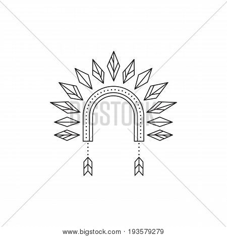 Tribal vector thin line icon, War bonnet, iroquois. Boho element, bohemian style. Logo template for accessories shop. Isolated illustration. Simple mono linear modern design.