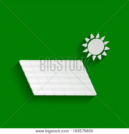 Solar energy panel. Eco trend concept sign. Vector. Paper whitish icon with soft shadow on green background.