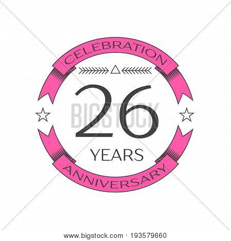 Realistic twenty six years anniversary celebration logo with ring and ribbon on white background. Vector template for your design