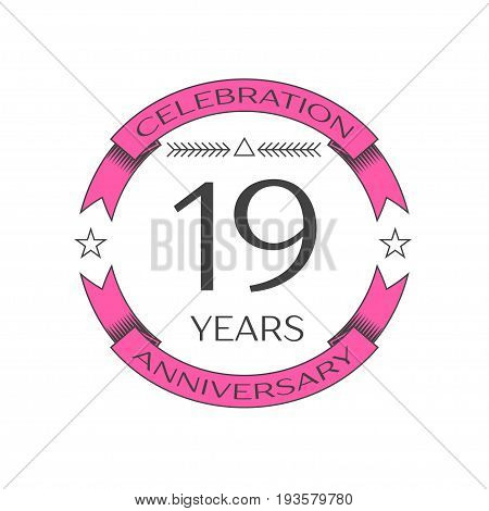 Realistic nineteen years anniversary celebration logo with ring and ribbon on white background. Vector template for your design