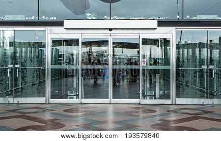 Airport Terminal Building Gate Entrance And Automatic Glass Door.
