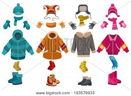 Winter clothes and cold weather accessories isolated on white background. Vector knitted hats and scarves, mittens and woolen socks