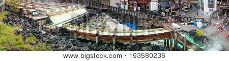 Panorama Of Famous Kusatsu Hot Spring And Town