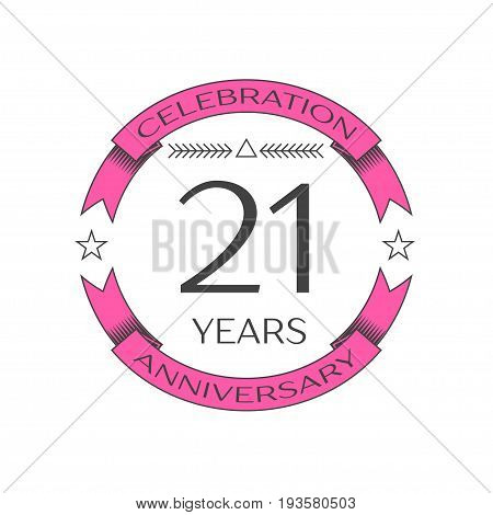 Realistic twenty one years anniversary celebration logo with ring and ribbon on white background. Vector template for your design