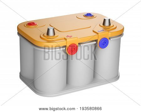 Battery car isolated on white background. 3d illustration high resolution.