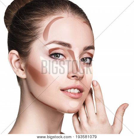 Young woman with contour sample on face. Professional contouring face make-up sample.