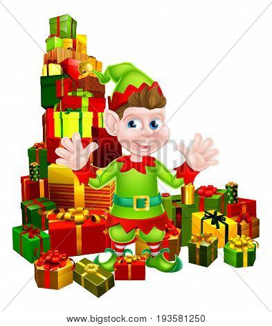 An illustration of a cute happy cartoon Christmas Elf or one of Santa s Christmas helpers with a stack of presents