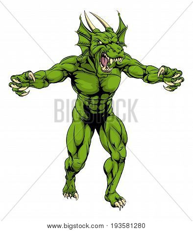 An aggressive tough mean green dragon sports mascot character with claws out