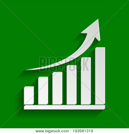 Growing graph sign. Vector. Paper whitish icon with soft shadow on green background.