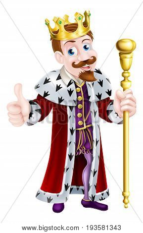 Cartoon king mascot wearing a crown, holding a sceptre and giving a thumbs up